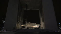 Night shot of La Grande Arche Stock Footage