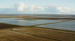 Aerial view of Sutter rice fields Northern California Stock Footage
