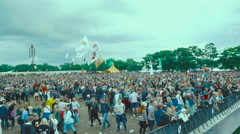 Roskilde 2016 people and tent village 4K Stock Footage