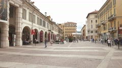 "Brescia – Italy: pedestrian and bikes in ""Corso Zanardelli"" main street, passing Stock Footage"