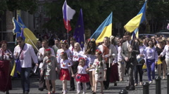 March in Vyshyvanka with Ukrainians Activists in Prague for support Ukraine Stock Footage