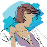 Portrait of a woman - stock illustration
