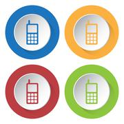 Set of four icons - old mobile phone with antenna Stock Illustration