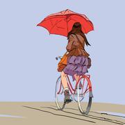 Girl on bike with umbrella autumn rain - stock illustration