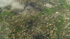 Aerial view of rural homes in Napa County Northern California Stock Footage