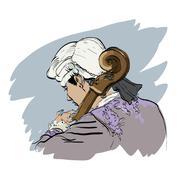 Musician cellist in a retro wig - stock illustration