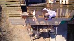 Aerial view of the wooden roof of the cabin house Stock Footage