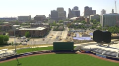 Beautiful Aerial of the Nashville Skyline with Sounds Stadium Stock Footage