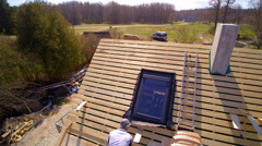 The aerial view of the wooden cabin house Stock Footage