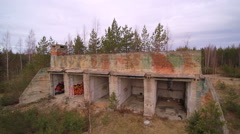 The old soviet military bunker that is already ruined Stock Footage