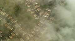 Aerial view of clouds over rural communities in Northern California Stock Footage