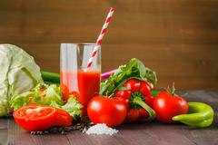Healthy vegetable juices for refreshment and as an antioxidant Stock Photos