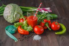 Tomato juice and meter Stock Photos