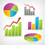 Shiny graph positive vector infographic icon. Isolated from background. Layer - stock illustration