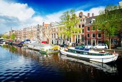 Amstel canal, Amsterdam - stock photo