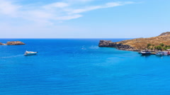 Greece. Rhodes. Top view on sea bay near town of Lindos. Wakeboarding Stock Footage