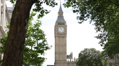 Big Ben surrounded by a canopy of trees Stock Footage