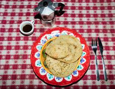 Pancakes with maple syrup ancd coffee Stock Photos