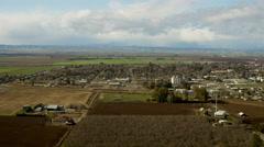Aerial view of rural vineyard crops Glenn County Northern California Stock Footage