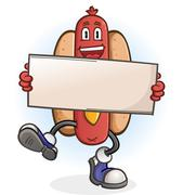Hot Dog Cartoon Character Holding a Sign - stock illustration
