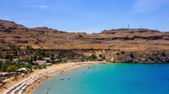 Timelapse Lagoon and beach of Lindos in Rhodes, top view Stock Footage
