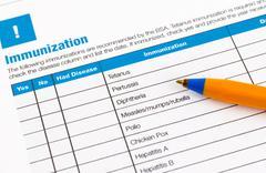 Immunization application form Stock Photos
