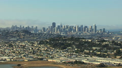 Aerial view of San Francisco cityscape and Candlestick Point California Stock Footage