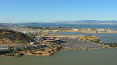 Aerial view of Candlestick Park Stadium San Francisco California - stock footage