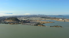 Aerial view of Candlestick Park and city of San Francisco USA Stock Footage