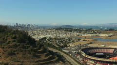 Aerial view of Candlestick Park sport and entertainment stadium San Francisco Stock Footage