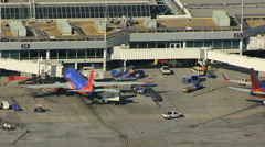 Aerial view of airplanes at Oakland International Airport San Francisco Stock Footage