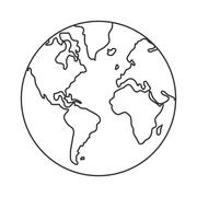 Earth globe with distinction between water and land icon Stock Illustration