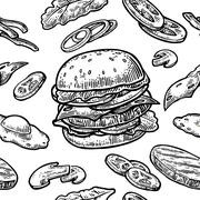 Seamless pattern burger include cutlet, tomato, cucumber and salad. Stock Illustration