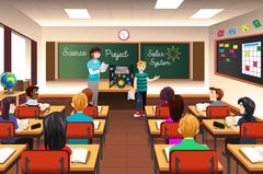 Student Having Science Presentation Stock Illustration