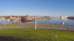 Long Beach Harbor From Hill - Pan Stock Footage
