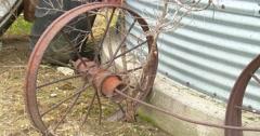 Rusted Wheel by Grain Bin - Farm Life - Vintage Stock Footage