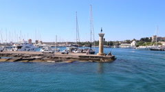 Rhodes Landmark Mandrake Port. Greece . The medieval lighthouse Stock Footage
