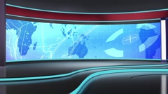 News TV Studio Set 183- Virtual Green Screen Background Loop - stock footage