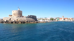 ancient Tower and Fort of Saint Nicholas in Rhodes, Greece - stock footage