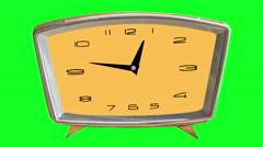 4K video animation of loopable clock on chromakey (green) background Stock Footage