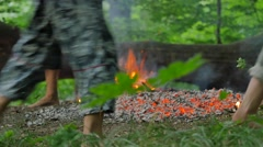People in Roundelay Around Fire Walking on Coals Pagan Festival of Ivan Kupala Stock Footage