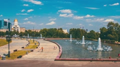 Park With Fountains In Moscow From A Height Stock Footage