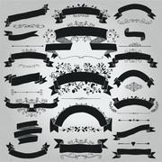 Vector Black Hand Drawn Rustic Ribbons, Banners Shapes Stock Illustration