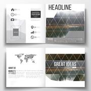 Set of square design brochure template. Colorful polygonal backdrop, blurred - stock illustration