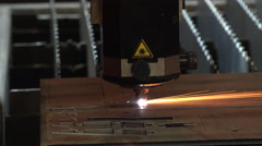 Timelapse or time lapse of industrial laser cutter Stock Footage