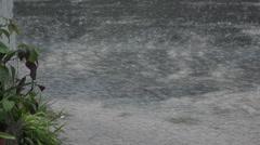 Heavy rainfall, flooding in Funafuti, Tuvalu HD Video Stock Footage