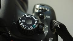 Turning the settings wheel on photo camera Stock Footage