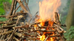 Fire is Burning People at Ivan Kupala Pagan Festival Men and Women Are Going to Stock Footage