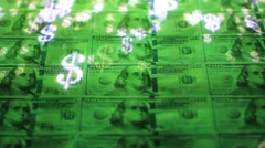 United states dollars with moving dollar sign Stock Footage