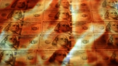 American dollars with burning fire background Stock Footage